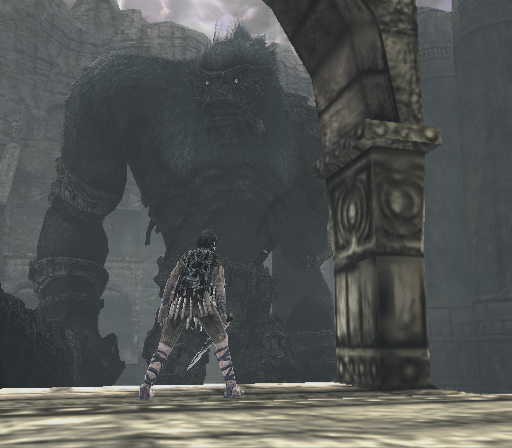 Shadow of the Colossus PlayStation 2 This is one of the biggest colossi in the game. He is also probably the most anthropomorphic one - he even carries a sword!