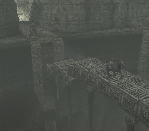 Shadow of the Colossus PlayStation 2 Crossing a collapsing bridge!