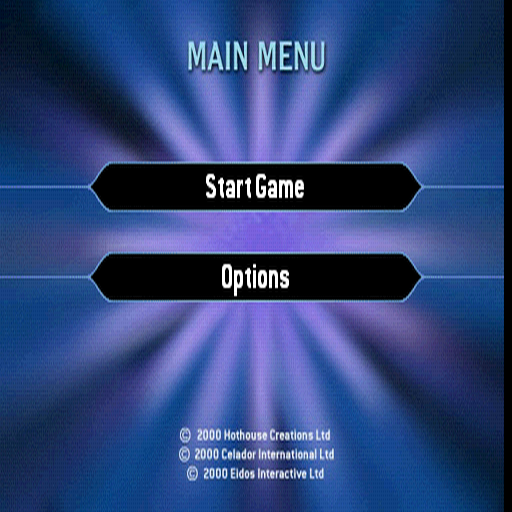 Who Wants to Be a Millionaire PlayStation The game's menu