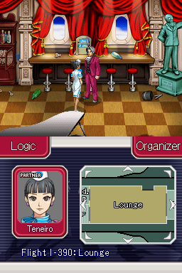 Ace Attorney Investigations: Miles Edgeworth Nintendo DS Taking a look around the lounge, with a stewardess helping.