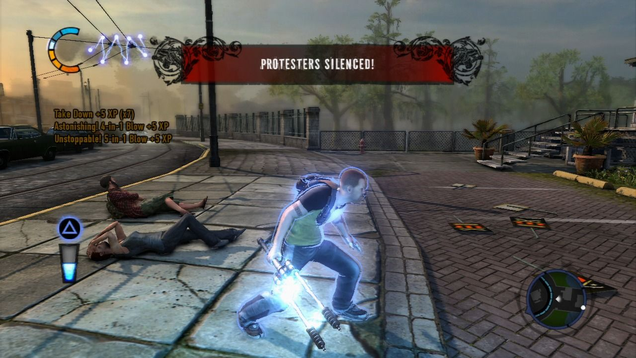 inFAMOUS 2 PlayStation 3 Certain actions like silencing the protesters on the street will raise your bad karma.