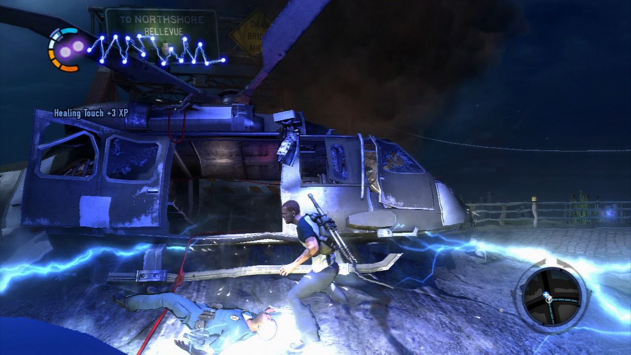 inFAMOUS 2 PlayStation 3 Healing the wounded police officer.
