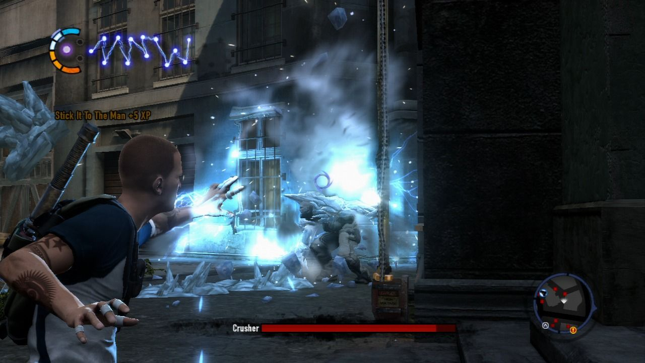 inFAMOUS 2 PlayStation 3 Crusher is hard to defeat, but using grenades will do the trick.