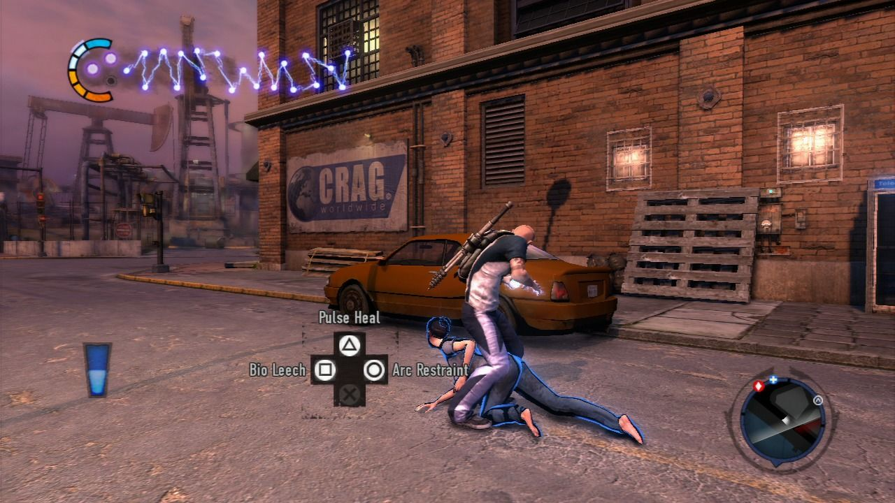 inFAMOUS 2 PlayStation 3 When you are near a wounded civilian or an enemy soldier, you can heal them, leech their life power, or restrain them.