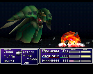 Final Fantasy VII PlayStation This is the Emerald Weapon, one of the game's two hardest optional bosses