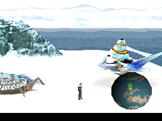 Final Fantasy VIII PlayStation Snowy world. Note the mini-map and the huge flying thing I can pilot!