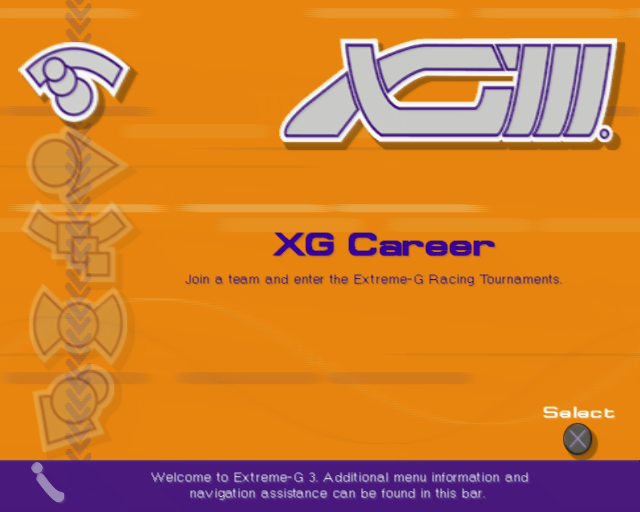 XGIII: Extreme G Racing PlayStation 2 The main menu. left/right or up/down scrolls through the icons on the right which are XG Career, XG Team Career, Load Data, Versus Game and Options