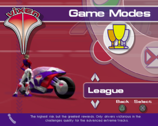 XGIII: Extreme G Racing PlayStation 2 Having chosen a team and a driver the player then selects the game mode. Up/down scrolls through the menu icons shown in the upper right