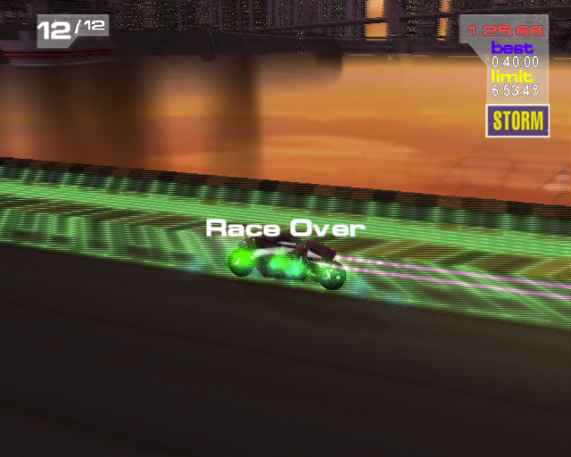 XGIII: Extreme G Racing PlayStation 2 When the race is over the game runs a rolling replay showing different camera angles. This shows the player passing through the shield recharge lane