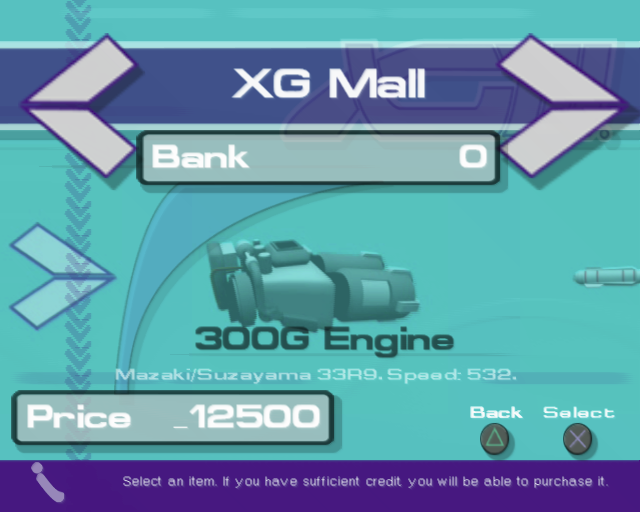 XGIII: Extreme G Racing PlayStation 2 Credits earned in racing are used to upgrade the player's machine