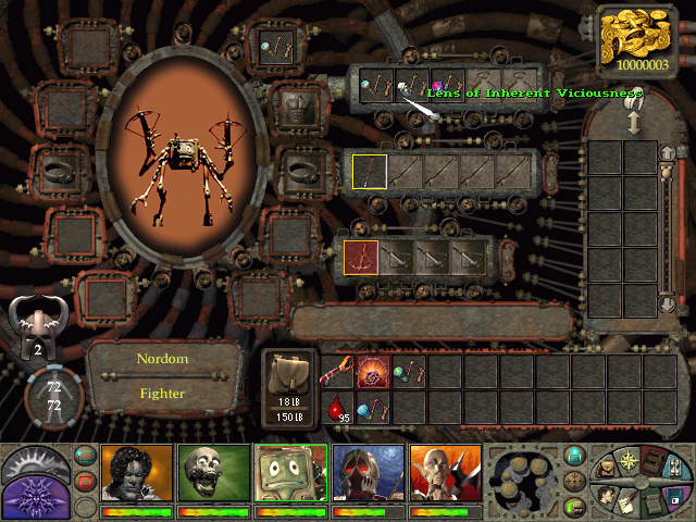 Planescape: Torment Windows This inventory screen displays Nordom - a crazy robot-like creature, optional companion, and the game's only equivalent of an archer