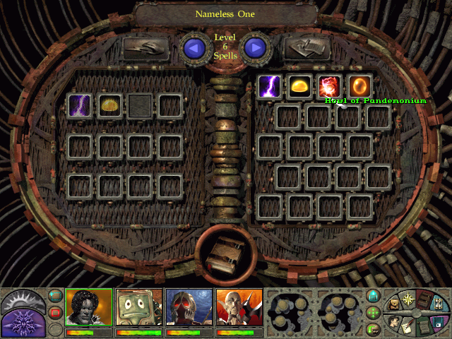 Planescape: Torment Windows The Nameless One can become a mage if he so wishes. This is his spell book, with Level 6 spells displayed