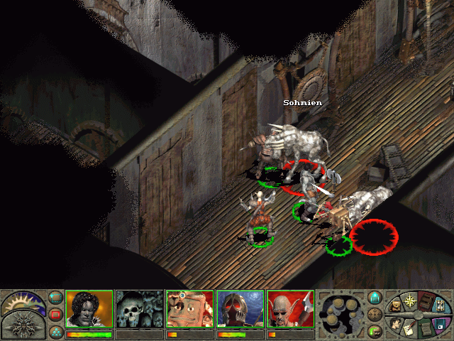 Planescape: Torment Windows Exploring one of the game's dungeons. Fearsome creatures attack you in narrow corridors