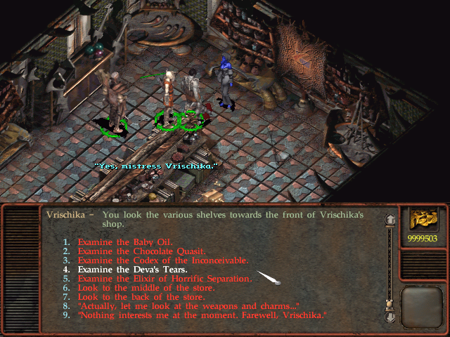 Planescape: Torment Windows Vrischika's shop is full of cool optional stuff - and this list is just a part of it!