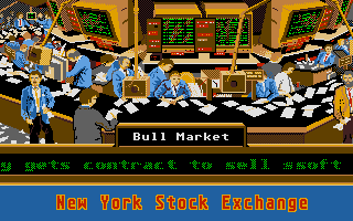 Stock Market: The Game Atari ST A trading day starts with ticker messages about company news