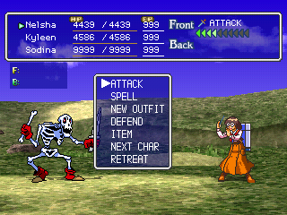 Thousand Arms PlayStation Fighting skeletons on the world map. Displaying menu for my front character - in this case, Nelsha