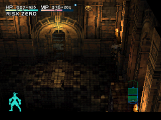 Vagrant Story PlayStation Jumping over a chasm in one of the later levels, a big temple