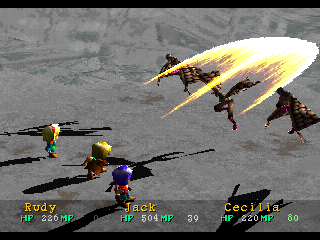 Wild Arms PlayStation Low-level spell cast on flying enemies with snowy backgrounds
