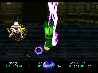 Wild Arms PlayStation Casting a lightning spell on weird enemies