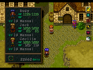 Wild Arms PlayStation Opening the general menu in the Town of Rosetta
