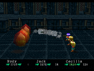 Wild Arms PlayStation Rudy is using his Rocket Launcher ability on these weird monsters in a modern dungeon