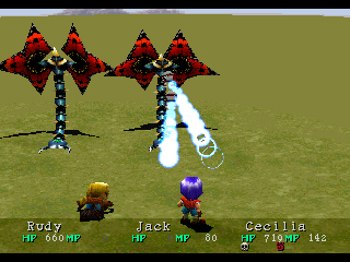 Wild Arms PlayStation Battle on the world map in the middle of the game; dangerous insects attack, but Rudy has just learned a new ARMS ability!