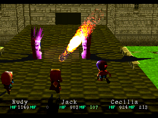 Wild Arms PlayStation Battle in an open castle. Rudy uses his Bazooka ability on enemies. Nice effects!