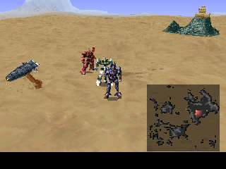 Xenogears screenshots for playstation mobygames the game is rich on diverse areas and even diverse world maps here im exploring this desert world in a gear a controllable vehicle a dungeon entrance gumiabroncs Images