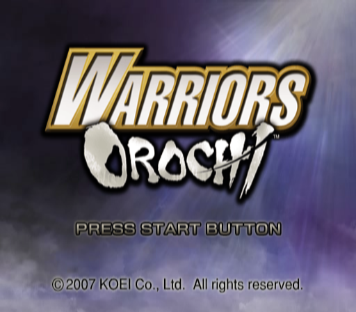 Warriors Orochi PlayStation 2 Title screen.