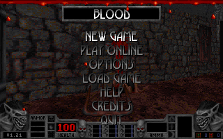 Blood DOS Title screen. 320x200 is the game's default resolution