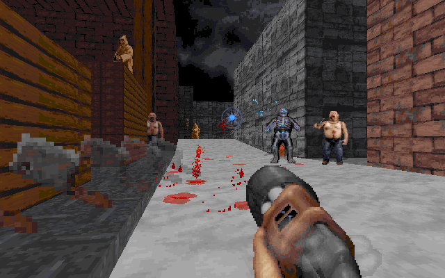 Blood DOS It was a snowy day in the town. Various guys tried to kill me. I fried one of them with a futuristic weapon