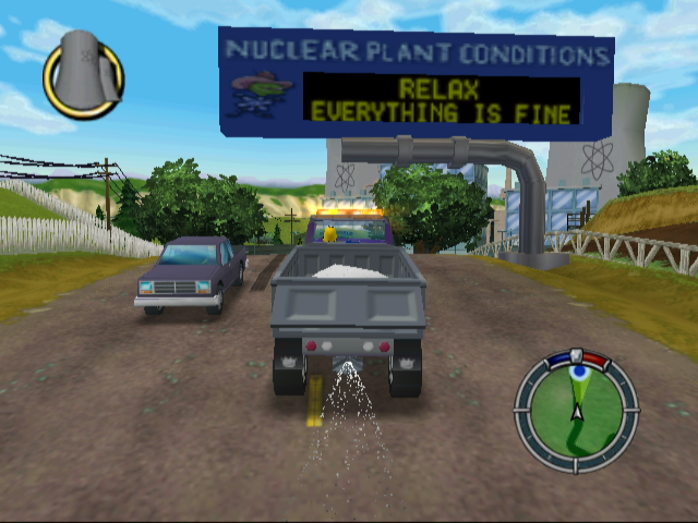 The Simpsons: Hit & Run GameCube Approaching the Power Plant