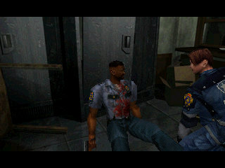 Resident Evil 2 PlayStation An R.P.D. member is injured.