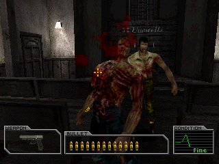Resident Evil: Survivor PlayStation Killing zombies in the church.
