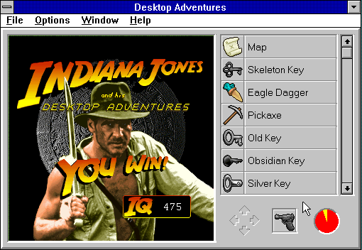 Indiana Jones and his Desktop Adventures Windows 3.x Your final score (Indy Quotient) is based on the combat/speed/world size settings.