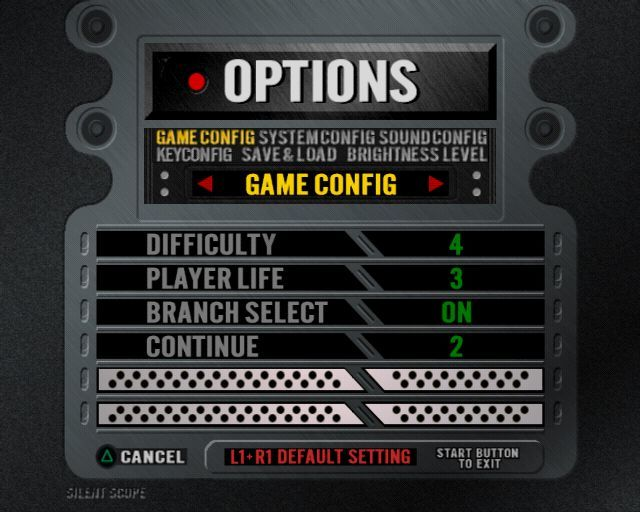 Silent Scope PlayStation 2 These are the game configuration options
