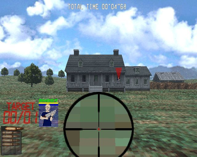 Silent Scope PlayStation 2 Training mode at the Farm. Bad guys are shown by red markers like this. Good guys have blue markers