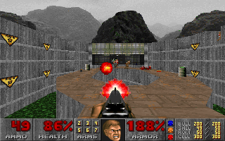 DOOM DOS Outdoor shootout during the first episode. Nice view, cool effects from enemy's rocket launcher... I knew I did the right thing when I booked this vacation