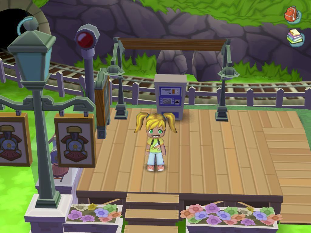 MySims Windows The player arrives in their town at the station. The first thing to do is to go and see the mayor, here the game takes over and walks us there