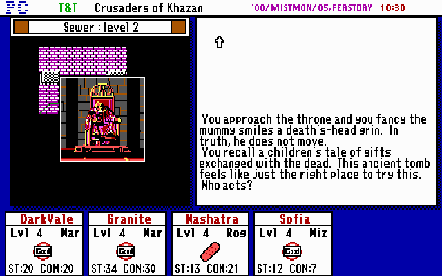 Tunnels & Trolls: Crusaders of Khazan DOS Exploring can be dangerous, but sometimes the brave (or reckless) maybe rewarded with great treasures. This tomb must have a trinket or two of some value...