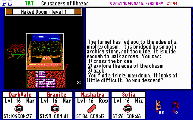 Tunnels & Trolls: Crusaders of Khazan DOS Some events have different approaches you may choose from, just make sure you remembered to save your game often in case you chose the wrong option!