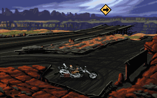 Full Throttle DOS The main objective of this chapter is to find a way to jump over that chasm. The yellow icon (which is supposed to have you drive the bike there) won't work at first