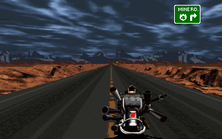 Full Throttle DOS Driving on the highway is automatic, but you can move left and right, just for fun. You'll also need to press a button to make a turn