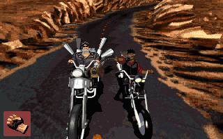 Full Throttle DOS The middle part of the game is largely dedicated to biker fights. Simply click with the mouse to attack, but try to stay balanced!