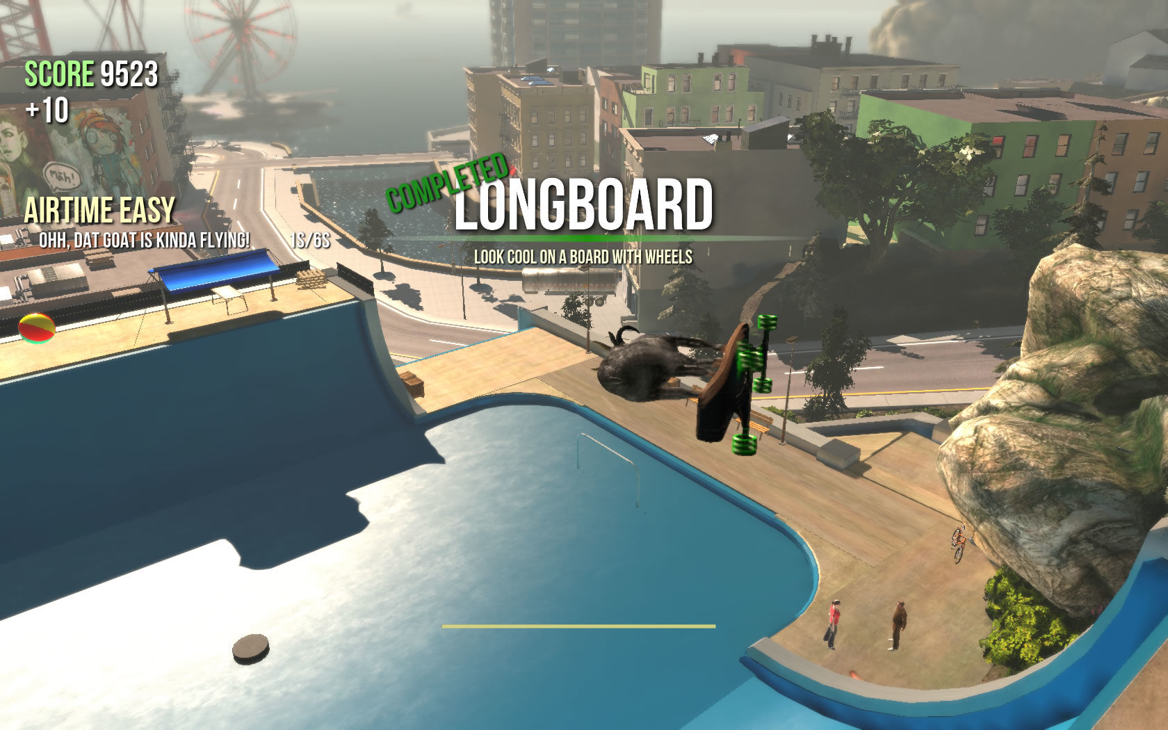Goat Simulator Windows Performing tricks with the longboard.