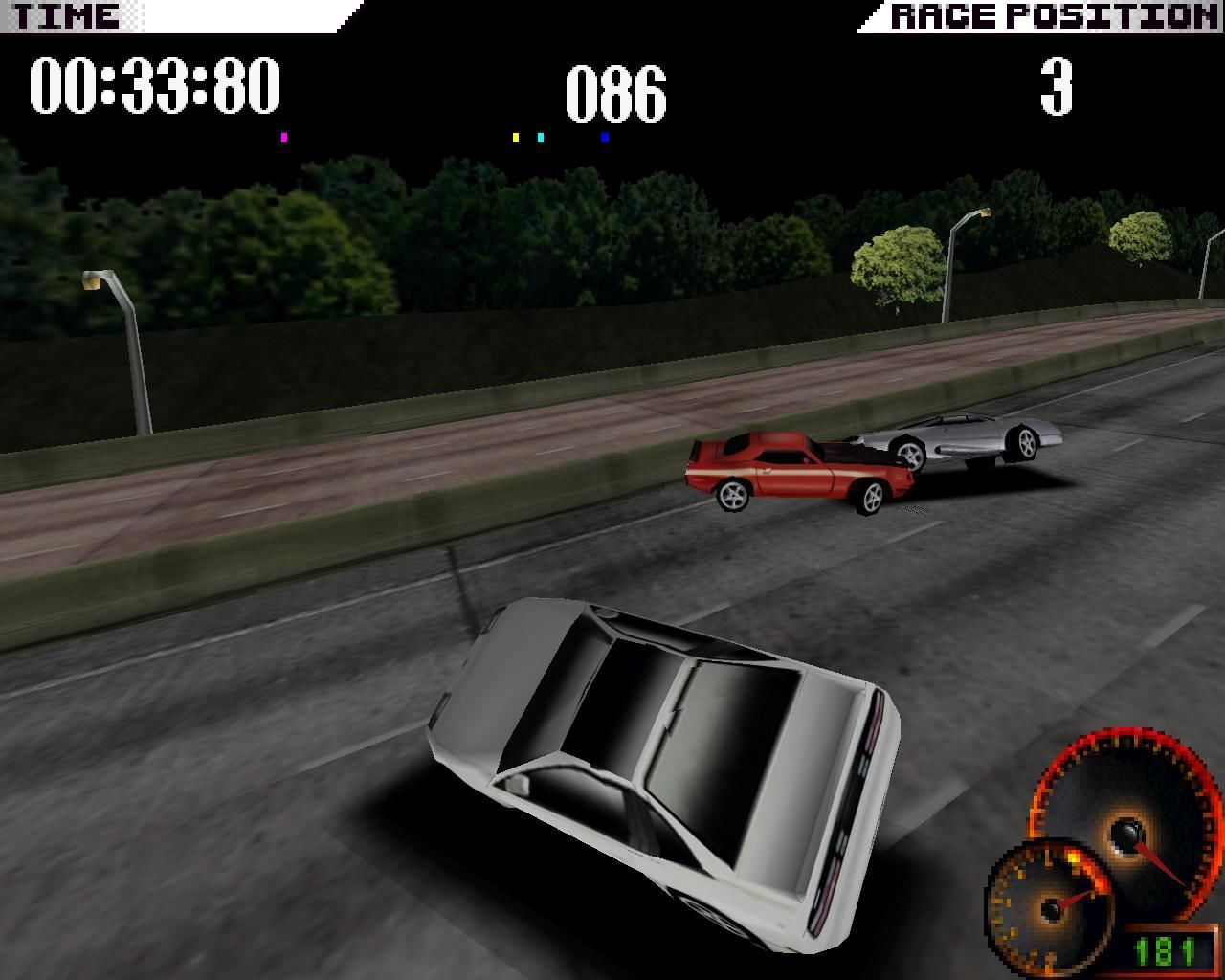 Test Drive 4 Windows Racing usually gets really hectic (3dfx Glide mode)