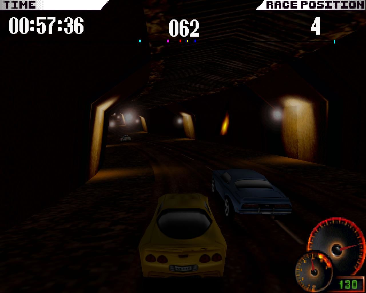 Test Drive 4 Windows ...particularly this twisty and dark tunnel. (3dfx Glide mode)