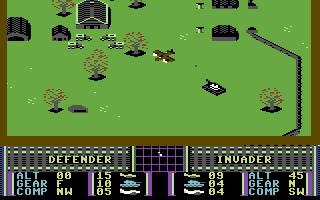 War Play Commodore 64 Flying past a tank.
