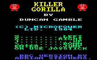 Killer Gorilla Amstrad CPC Title Screen.