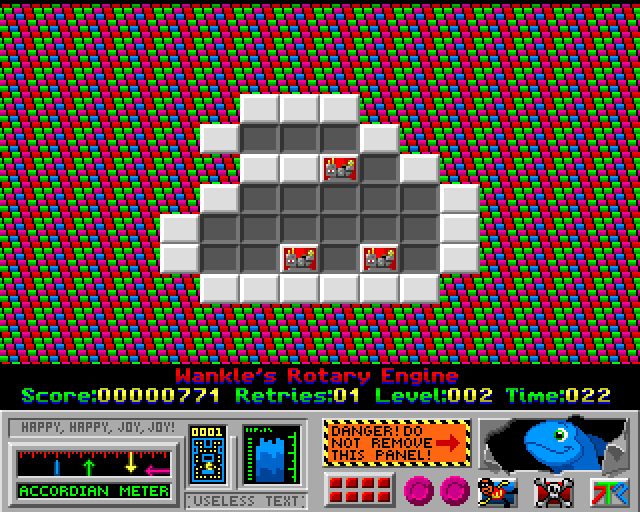 4-Get-It Amiga Gravity causes the higher tile to fall down because we moved it over the edge. It will fall between the other two blocks and cause all three to disappear.